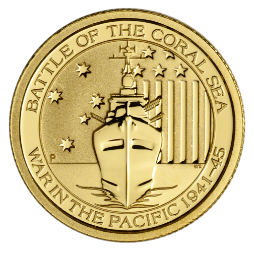 1/10 oz Battle of the Coral Sea Goldmünze (2015)