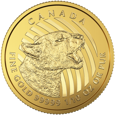 1/10 oz Growling Cougar 999.99 Gold Coin