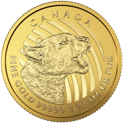 1/10 oz Growling Cougar 999.99 Goldmünze