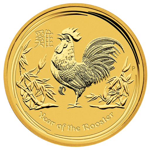 1/10 oz Lunar II Gallo | fondo a specchio proof | oro | 2017