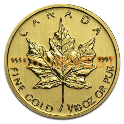 1/10 oz Maple Leaf | Oro | años diversos