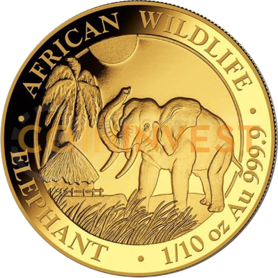 1/10 oz Somalia Elephant | Gold | 2017