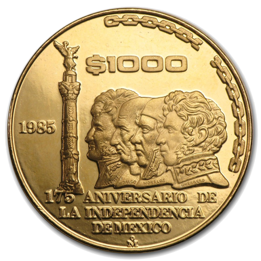 1/2 oz 175 Anniversary of the Mexican Independence | Gold | 1985