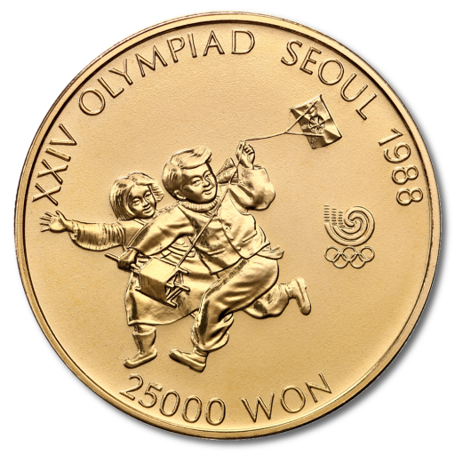 1/2 oz Olympic Games South Korea | Children with Kite | Gold | 1988