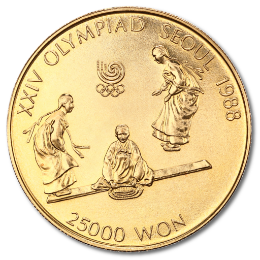 1/2 oz Olympic Games South Korea | Men on Seesaw | Gold | 1988