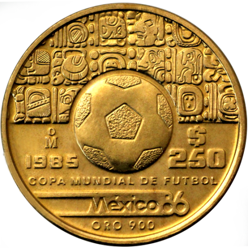 1/4 oz Football World Cup Mexico | Football with pattern | Gold | 1985-1986