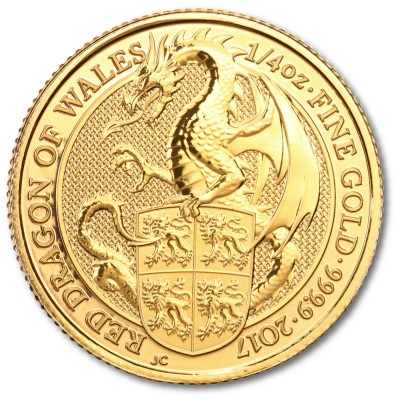 1/4 oz Gold Dragon Coin 2017 - Queen's Beasts