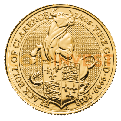 1/4 oz Queen's Beasts Black Bull Gold Coin (2018)