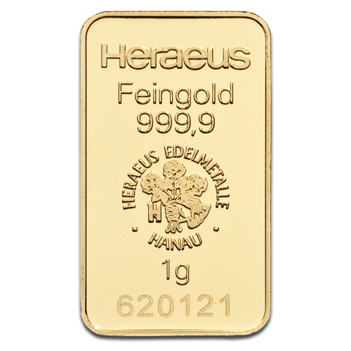 1g Gold Bar | Heraeus | Circulated