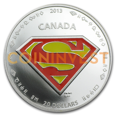 1 oz Moneta Celebrativa per il 75. Anniversario di Superman™- Lo Scudo | Argento | Colorata | 2013