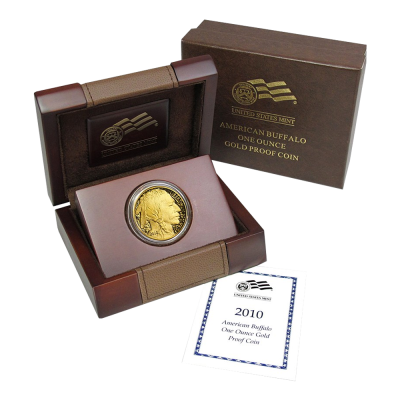 1 oz American Buffalo Gold Proof Coin and Wooden Box 2010
