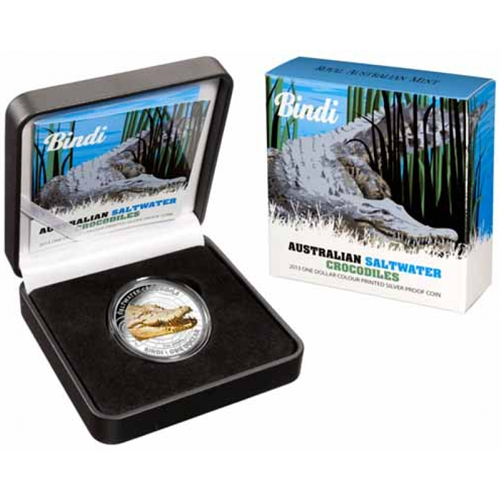 1 oz Australian Saltwater Crocodiles - Bindi | Silver | Colored | 2013
