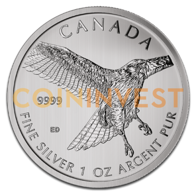 1 oz Red-Tailed Hawk Birds of Prey Silver Coin (2015)