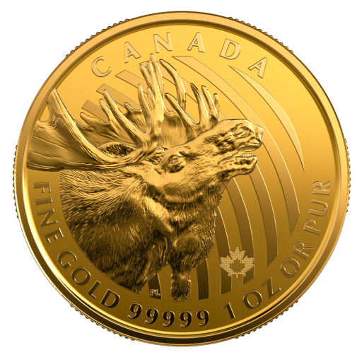 "1 oz ""Alce americano"" Call of the Wild d'oro .99999 (2019)"