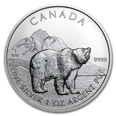 1 oz Canadian Grizzly Bear Wildlife Series | Silver | 2011