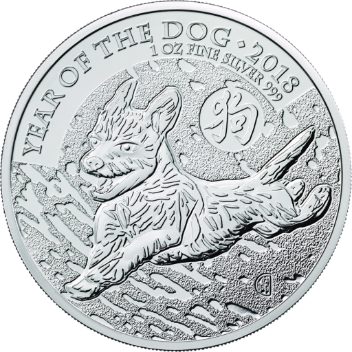 1 oz Lunar UK Year of the Dog Silver Coin (2018)