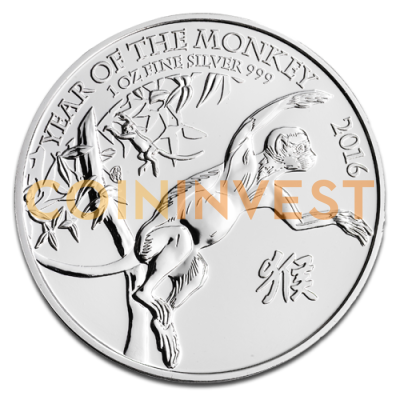1 oz Lunar UK Year of the Monkey | Silver | 2016