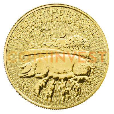 1 oz Lunar UK Year of the Pig Gold Coin (2019)