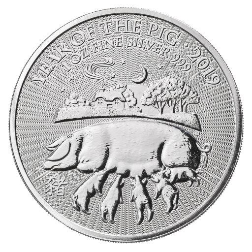 1 oz Lunar UK Anno del Gallo d'argento (2019)