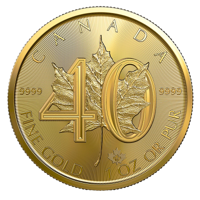 1 oz moneta d'oro 40. Anniversario Maple Leaf (2019)