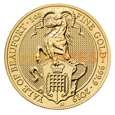 1 oz Queen's Beasts Yale of Beaufort Goldmünze (2019)