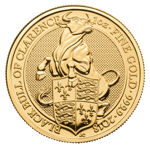 1 oz Queen's Beasts Black Bull Goldmünze (2018)