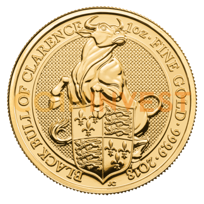 1 oz Queen's Beasts Black Bull Gold Coin (2018)