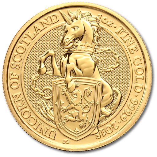 1 oz Queen's Beasts Unicorno d'oro (2018)