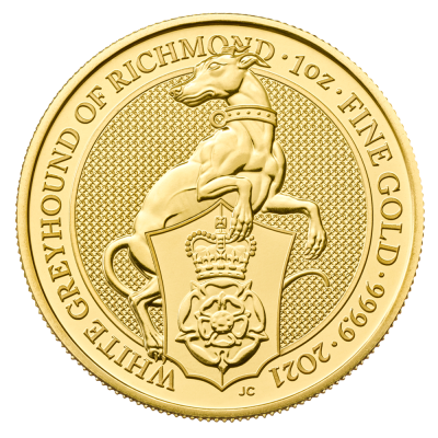 1 oz Queen's Beasts White Greyhound of Richmond Gold Coin (2021)