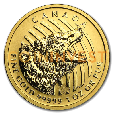 1 oz Call of the Wild Roaring Grizzly Bear .99999 Gold Coin (2016)