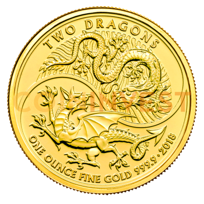 1 oz Two Dragons Gold Coin (2018)