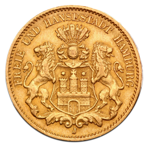 10 Mark Free Hanseatic City Of Hamburg Gold 1873 1913