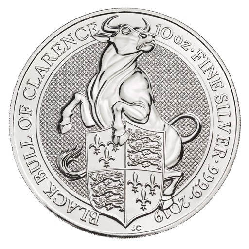 10 oz Queen's Beasts Black Bull Silbermünze (2019)