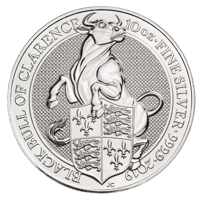 10 oz Queen's Beasts Black Bull Silver Coin (2019)