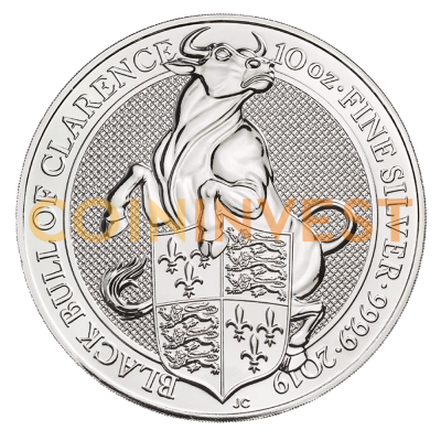 10 oz Queen's Beasts Black Bull de plata (2019)