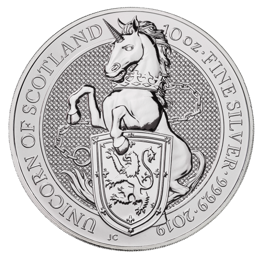 10 oz Queen's Beasts Unicorno d'argento (2019)