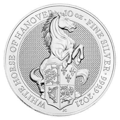 10 oz Queen's Beasts White Horse of Hanover Silver Coin (2021)