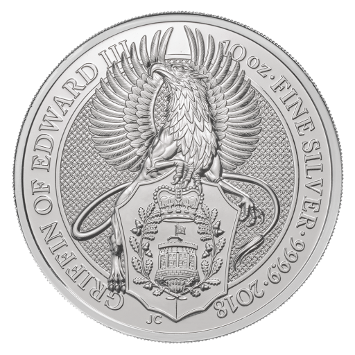 10 oz Queen's Beasts Grifo | Plata | 2018