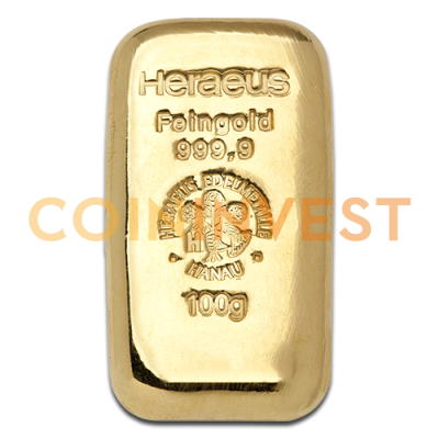 100g Gold Bar casted (Heraeus)