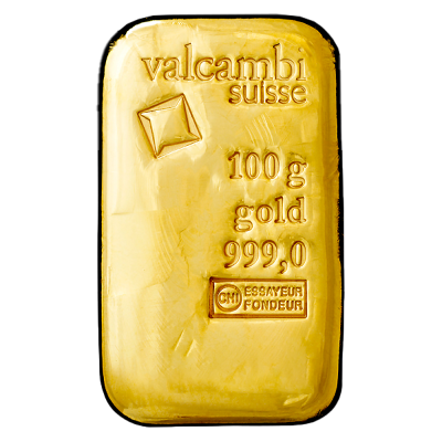 100g Gold Bar | Valcambi | Casted