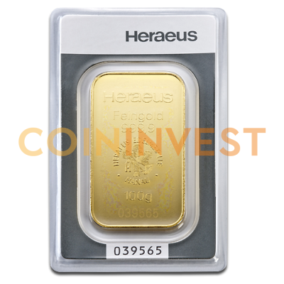 100g Gold Bar minted (Heraeus)