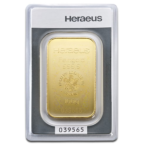 100g Gold Bar minted | Heraeus