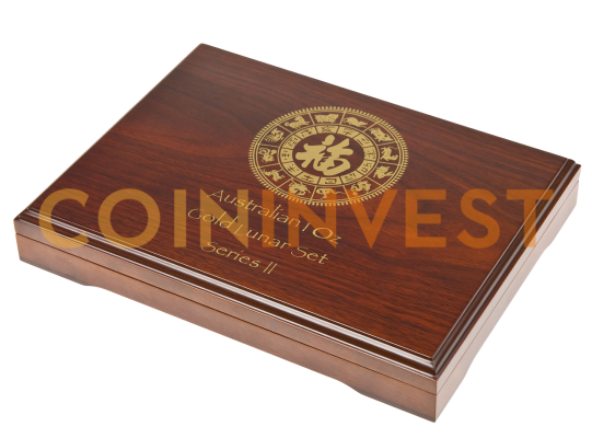 12 x 1oz Lunar II Gold Coins Wooden Box
