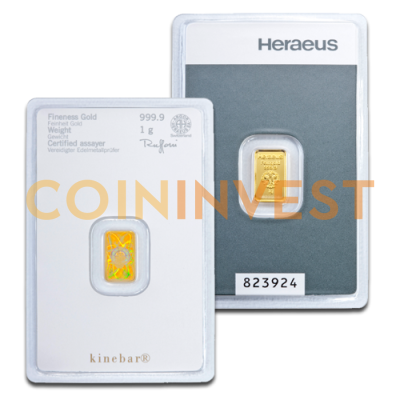 1g Gold Bar | Kinebar® | Heraeus