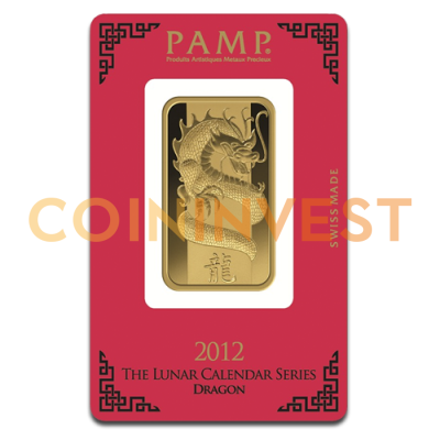 1oz Gold Bar | Lunar Dragon 2012 | PAMP Suisse