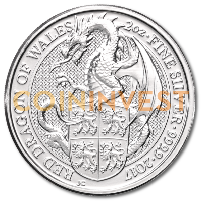 2 oz Queen's Beasts Drache | Silber | 2017
