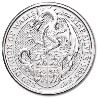 2 oz Queen's Beasts Dragon | Argent | 2017
