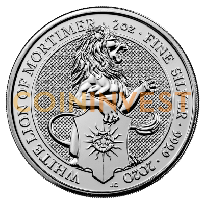 2 oz Queen's Beasts White Lion Silbermünze (2020)