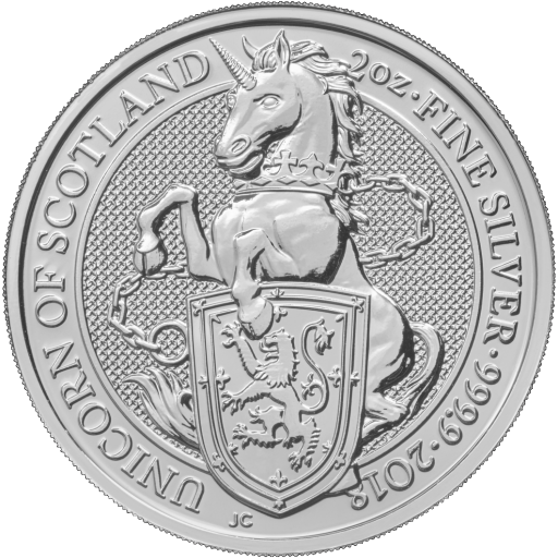 2 oz Queen's Beasts Licorne | Argent | 2018