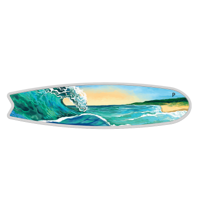2 oz Coloured Surfboard Silver Coin (2020)